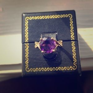 9MM MOROCCAN AMETHYST YELLOW GOLD RING SIZE 6